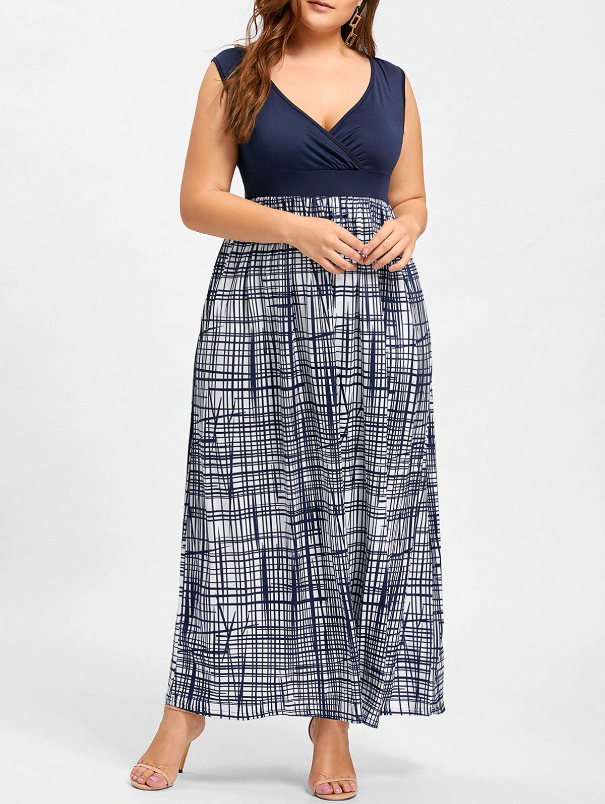 Plus Size Plaid Surplice Empire Waist Dress - PURPLISH BLUE 2XL