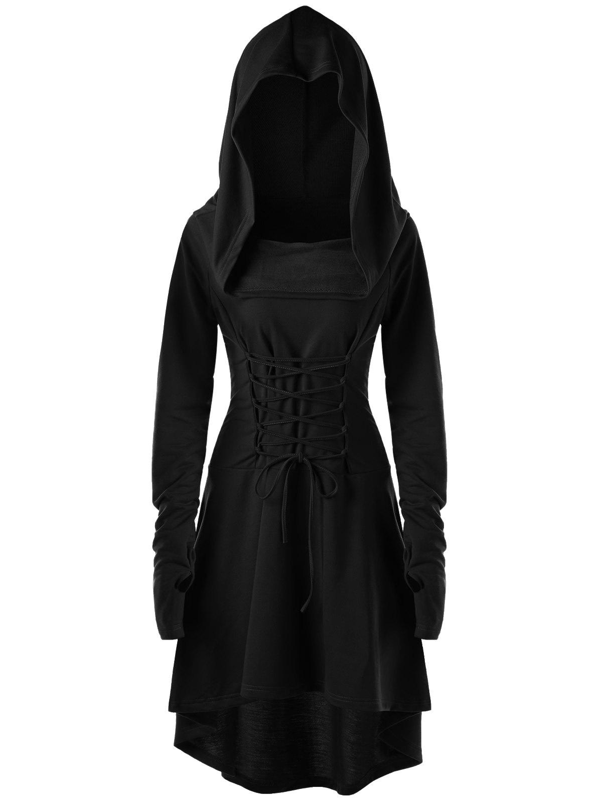 Lace Up Hooded High Low Dress - BLACK 2XL