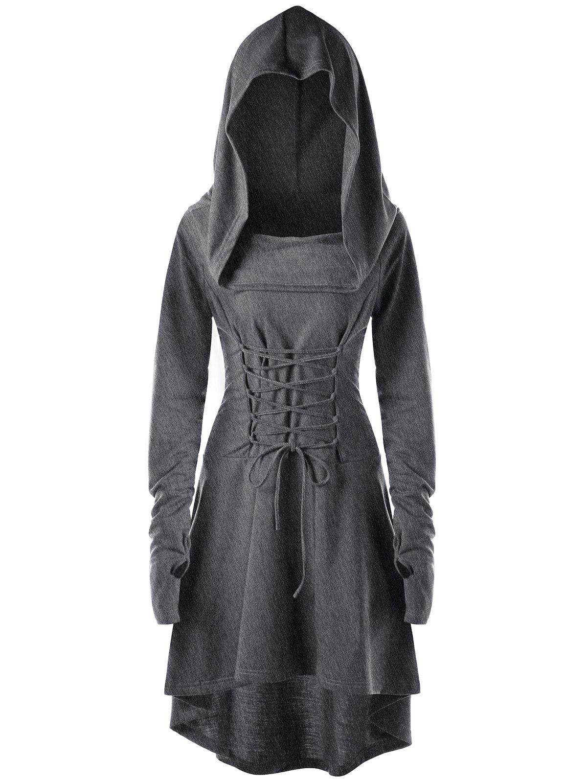 Lace Up Hooded High Low Dress - DARK HEATHER GRAY M