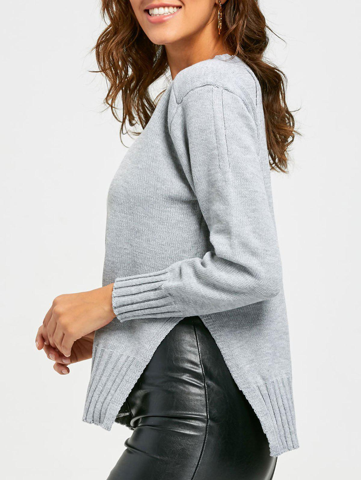 Side Slit High Low Crew Neck Sweater - GRAY ONE SIZE