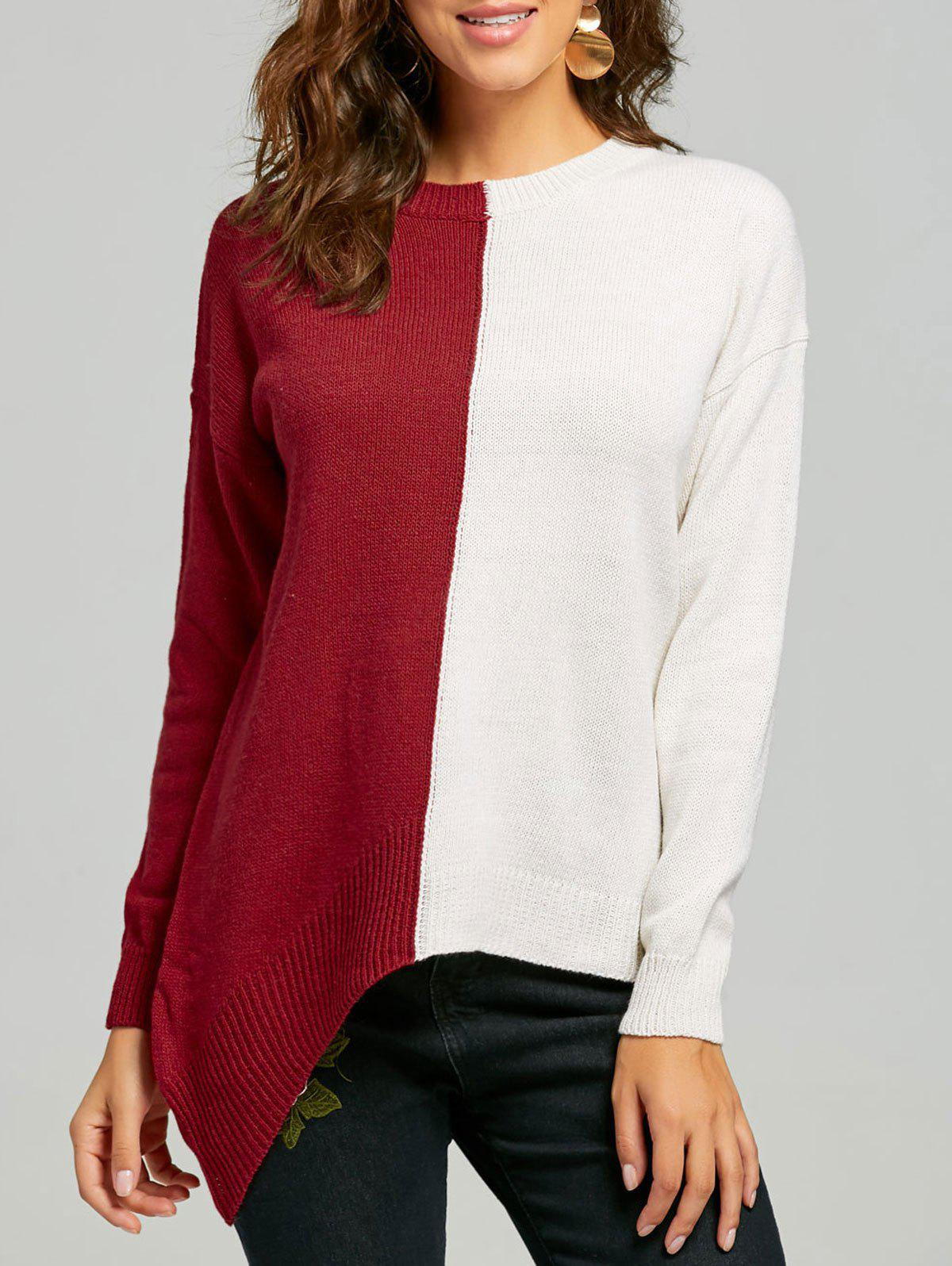 Pull Tunique Asymétrique Color Block - Rouge et Blanc ONE SIZE