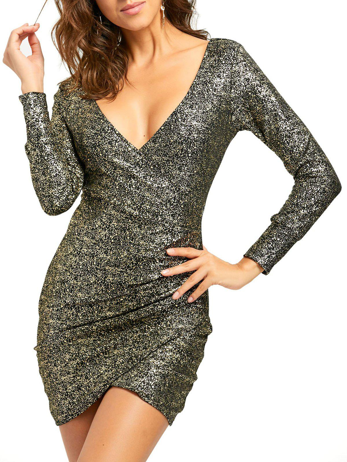 Plunging Neckline Ruched Mini Bodycon Dress - GOLDEN M