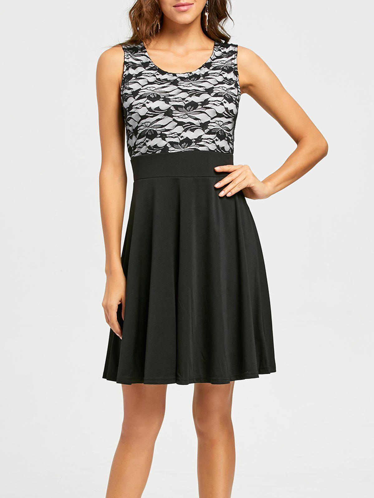 Sleeveless Floral Lace Panel Fit and Flare Dress - BLACK L