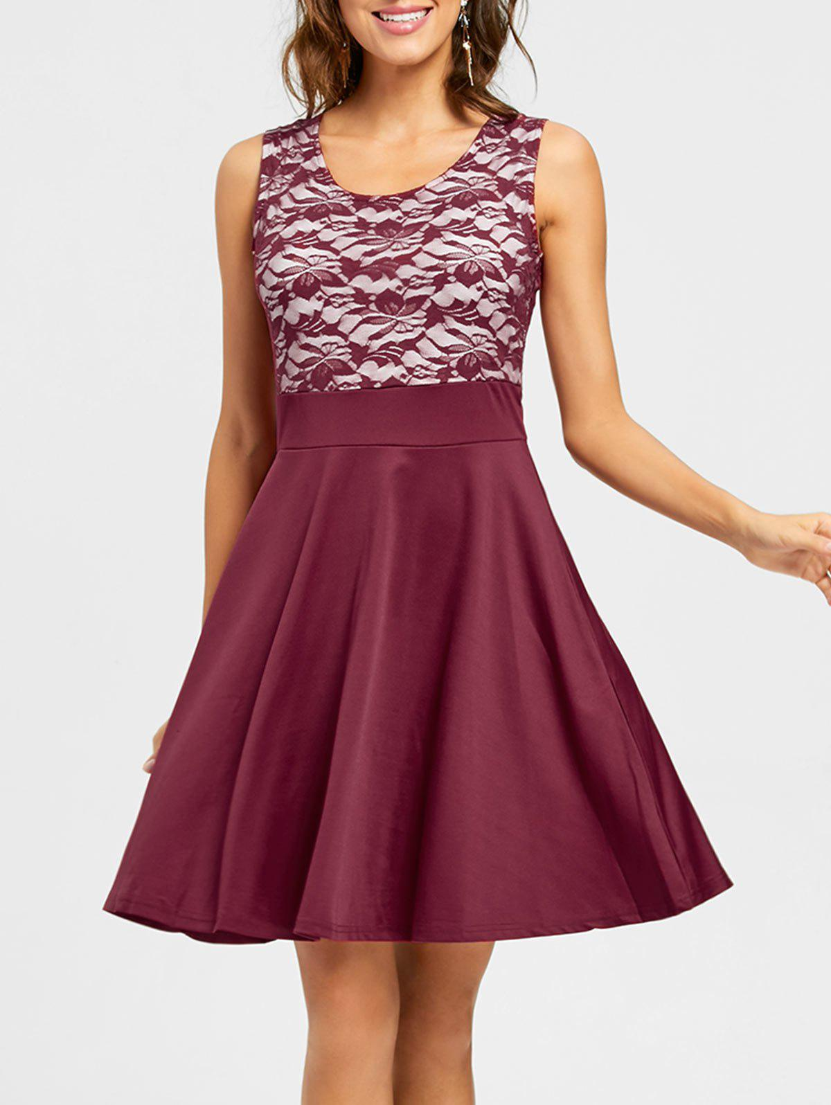 Sleeveless Floral Lace Panel Fit and Flare Dress - WINE RED M