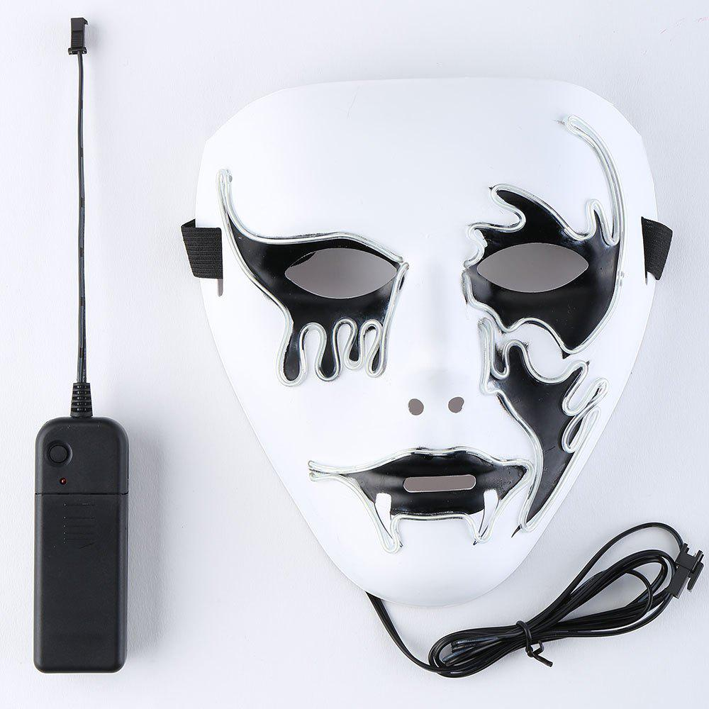 Halloween EL Wire Glowing Cosplay Creepy Mask - Blanc