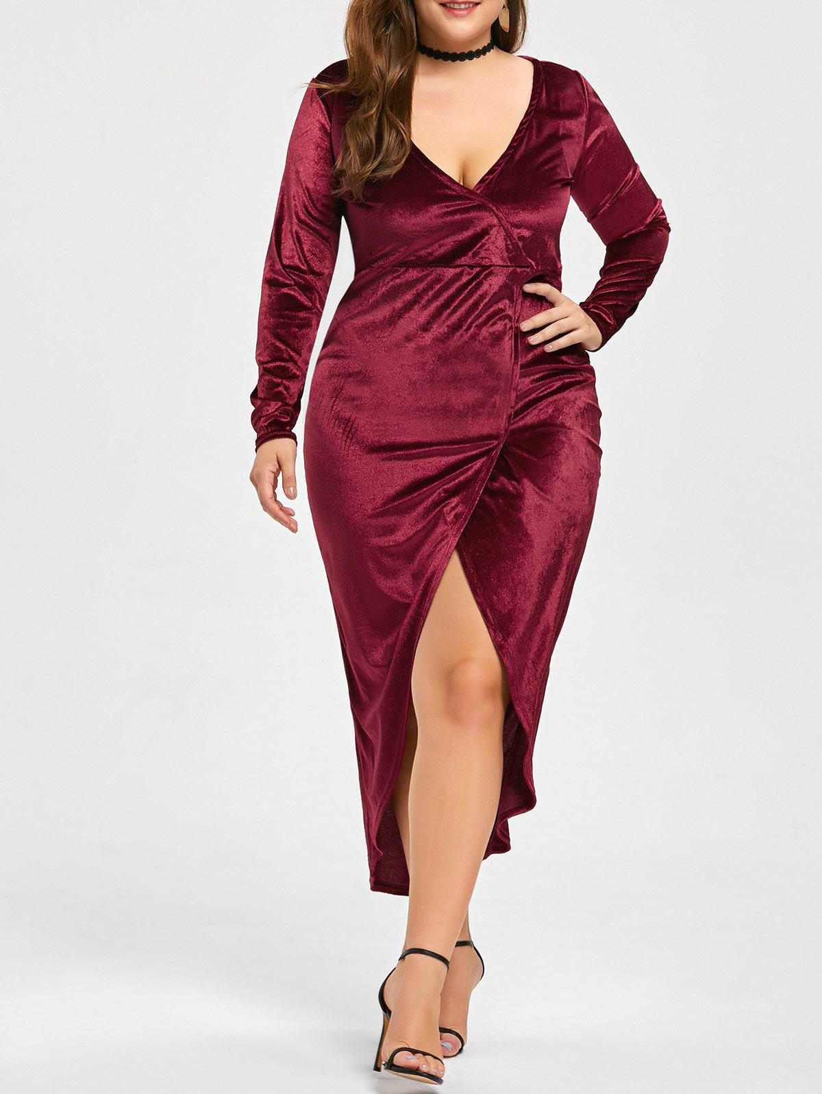Plus Size High Low Velvet Midi Bodycon Dress - RED 2XL