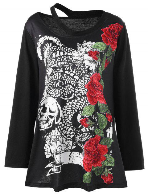 Plus Size Chinese Dragon Skull Embroidery Top - BLACK 3XL
