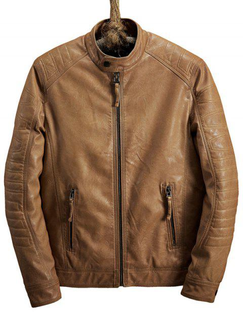 Zipper Pocket Raglan Sleeve Faux Leather Jacket - LIGHT BROWN M