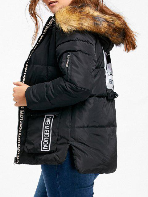 Padded Letter Print Hooded Plus Size Coat - BLACK 5XL