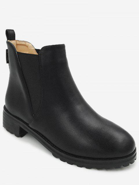 Buckled Strap Faux Leather Ankle Boots - BLACK 37