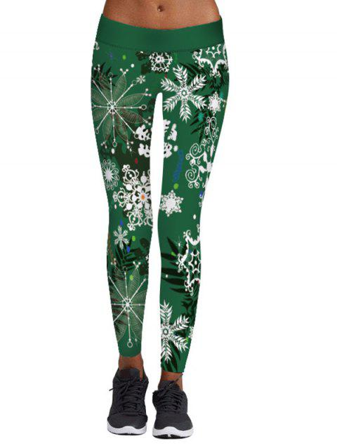 Christmas Snowflake Print Elastic Waist Leggings - GREEN 2XL