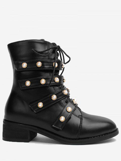 Stack Faux Gem Bottines - Noir 39