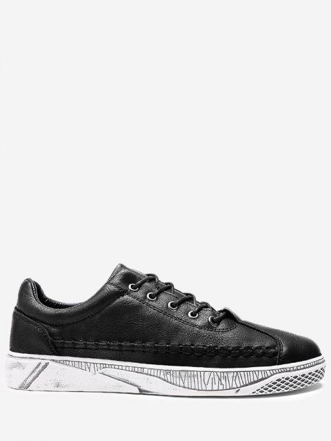 Whipstitch Faux Leather Casual Shoes - BLACK 39