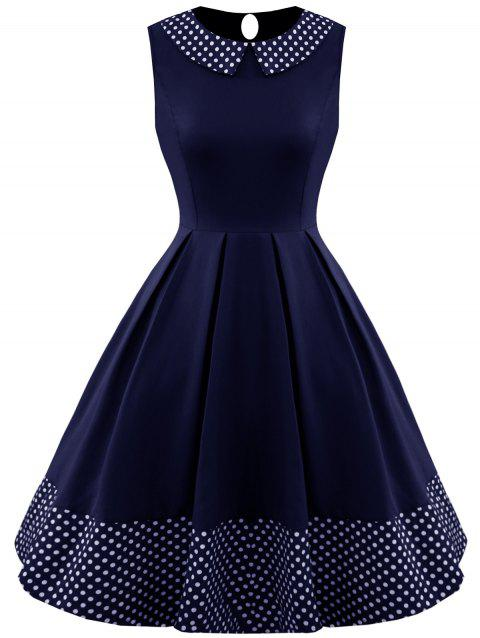 Polka Dot Panel Sleeveless Vintage Dress - PURPLISH BLUE S