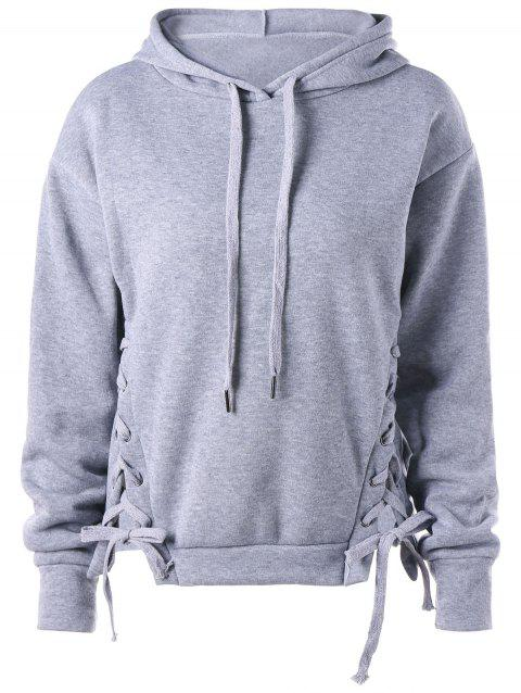 Drawstring Neck Lace Up Hoodie - GRAY 2XL