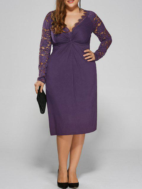 Plus Size Twist Front Lace Insert Fitted Dress - PURPLE 4XL
