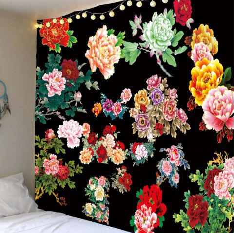 Chinese Style Peony Flowers Pattern Wall Tapestry - COLORFUL W59 INCH * L59 INCH