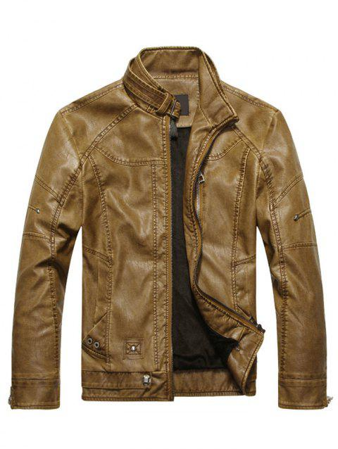 Mens Faux Leather Biker Jacket - BROWN M