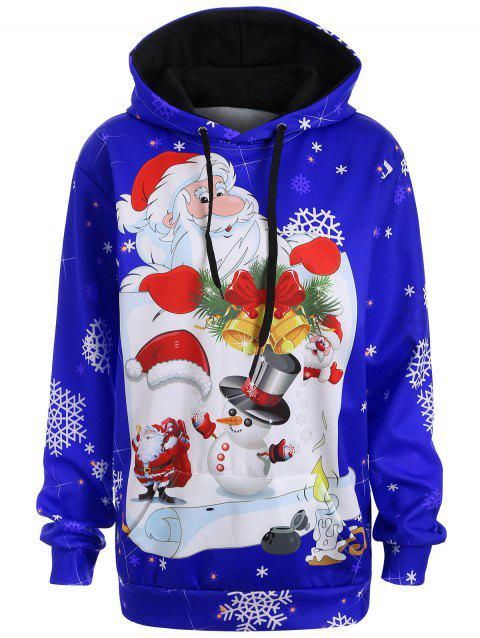 Christmas Plus Size Snowman Kangaroo Pocket Hoodie - BLUE L