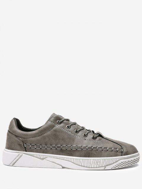 Whipstitch Faux Leather Casual Shoes - GRAY 43