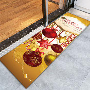 Nonslip Flannel Christmas Ornaments Print Bath Mat - GOLDEN W16 INCH * L47 INCH