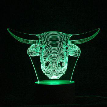 Changeable 3D Cow Head Shape Remote Control Night Light -  TRANSPARENT
