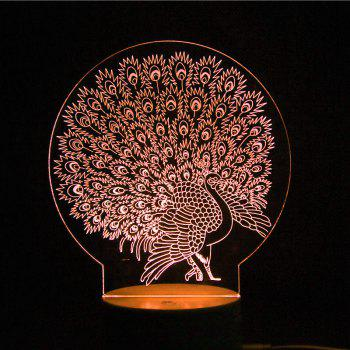 Multicolor 3D Peacock LED Night Light with Remote Controller - TRANSPARENT