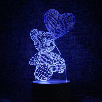 3D Bear LED Color Changing Love Confession Gift Night Light - TRANSPARENT