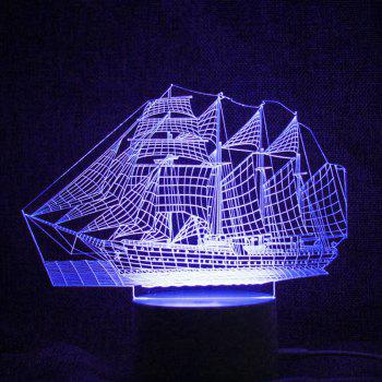 Colorful LED 3D Visual Ship Shape Touch Night Light With Remote Control - TRANSPARENT