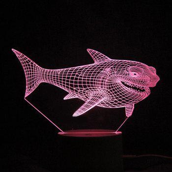 Colorful LED 3D Visual Shark Touch Night Light With Remote Control - TRANSPARENT