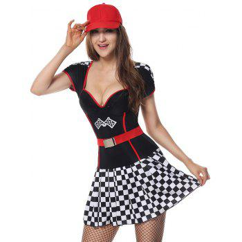 Sweetheart Neck Plaid Sporty Costume Dress - Noir M