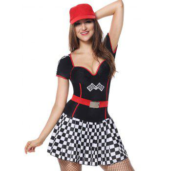 Sweetheart Neck Plaid Sporty Costume Dress - BLACK L