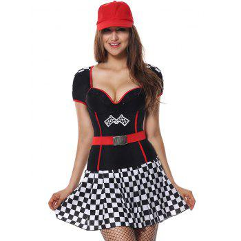 Sweetheart Neck Plaid Sporty Costume Dress - BLACK XL