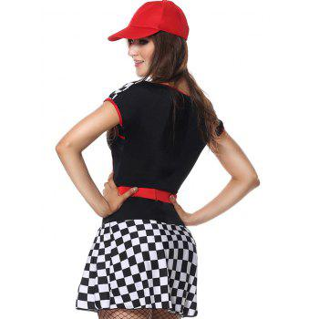Sweetheart Neck Plaid Sporty Costume Dress - BLACK BLACK