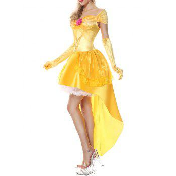 High Low Flounce Princess Costume Dress - YELLOW YELLOW