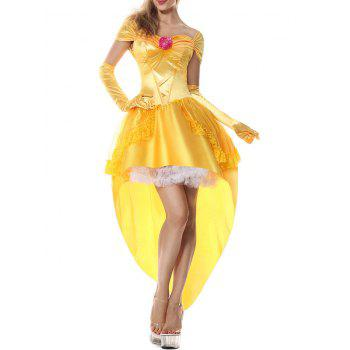 High Low Flounce Princess Costume Dress - YELLOW 2XL