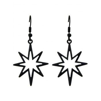 Alloy Geometric Hollow Out Pendant Earrings - BLACK BLACK