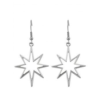 Alloy Geometric Hollow Out Pendant Earrings - SILVER SILVER