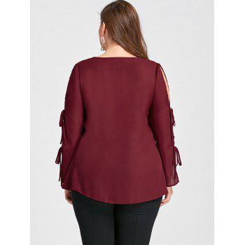 Plus Size Slit Tie Sleeve V Neck Blouse - WINE RED XL