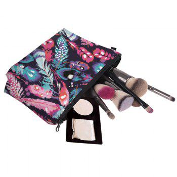Clutch Feathers Print Makeup Bag -  COLORMIX