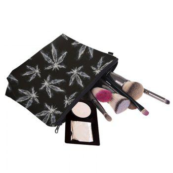 Zipper Print Leaves Makeup Bag - BLACK