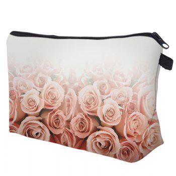 Clutch Roses Flower Print Makeup Bag - WHITE