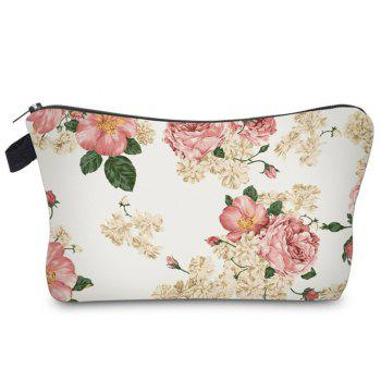 Print Floral Cosmetic Bag - WHITE WHITE