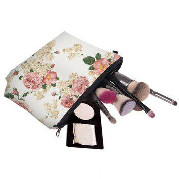 Print Floral Cosmetic Bag -  WHITE