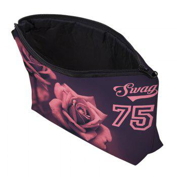 Print Floral Cosmetic Bag - RED