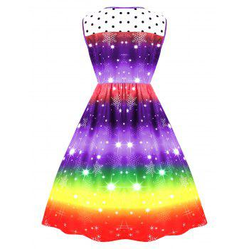 Plus Size Christmas Snowflake Rainbow Printed Vintage Dress - PURPLE 2XL