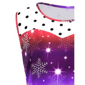 Plus Size Christmas Snowflake Rainbow Printed Vintage Dress - PURPLE 5XL