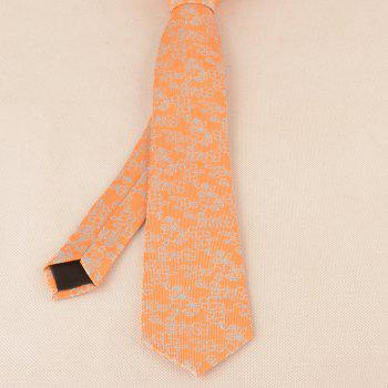Vintage Jacquard Pattern Necktie Bowtie Set -  ORANGE