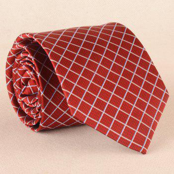 Checked Pattern Skinny Neck Tie -  RED