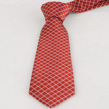 Checked Pattern Skinny Neck Tie - RED RED
